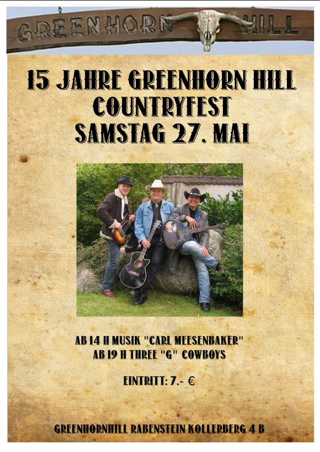 Plakat Cuntryfest 15 Jahre Greehorns